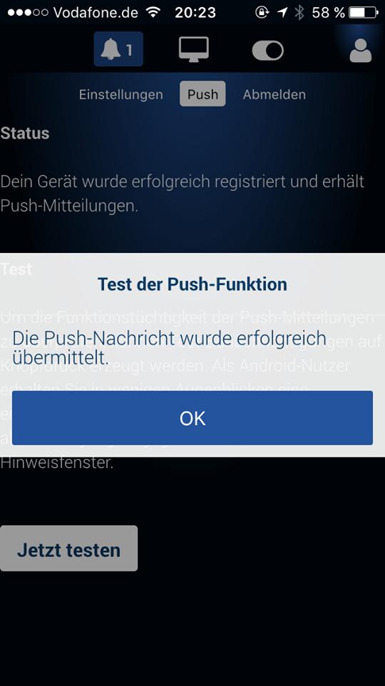 Push-Benachrichtigung testen