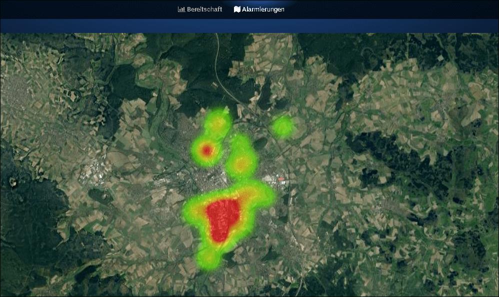 Darstellung der Alarmierungen zur Identifikation von Einsatzschwerpunkten in einer zoombaren Google-Karte