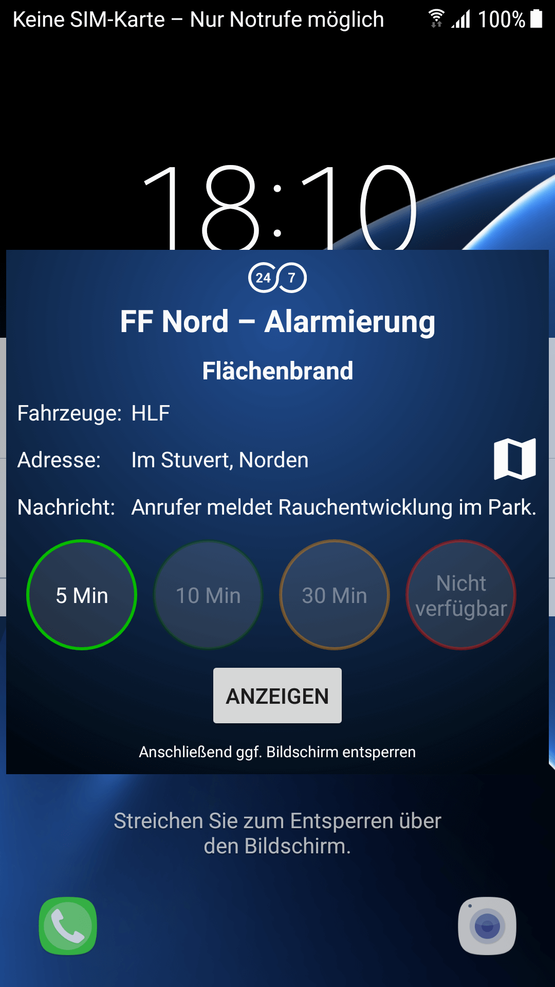 Alarmierungs-App zur Handyalarmierung zeigt die Einsatz-Informationen schon als Pop-Up-Message auf dem Lock-Screen des Android-Smartphones.