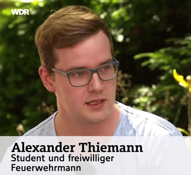 Alexander Thiemand, Student der Sicherheitstechnik, ist auch an der Uni einsatzbereit und rückt zu Einsätzen der Feuerwehr aus